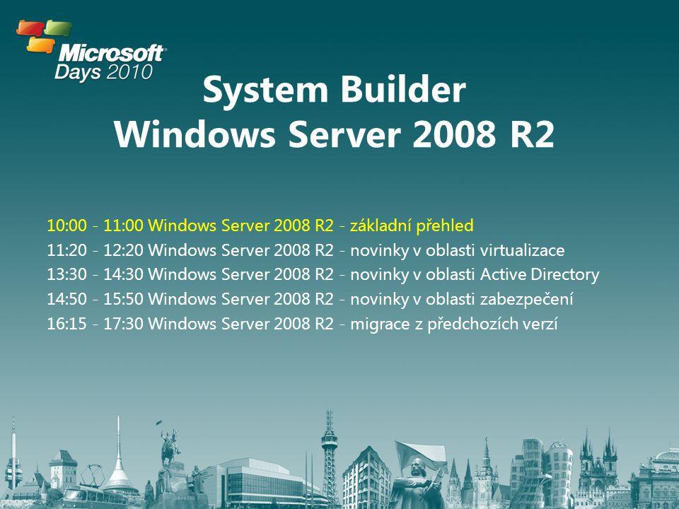 System Builder Windows Server 2008 R2 10:00 - 11:00 Windows Server 2008 R2 - základní přehled 11:20 - 12:20 Windows Server 2008 R2 - novinky v oblasti