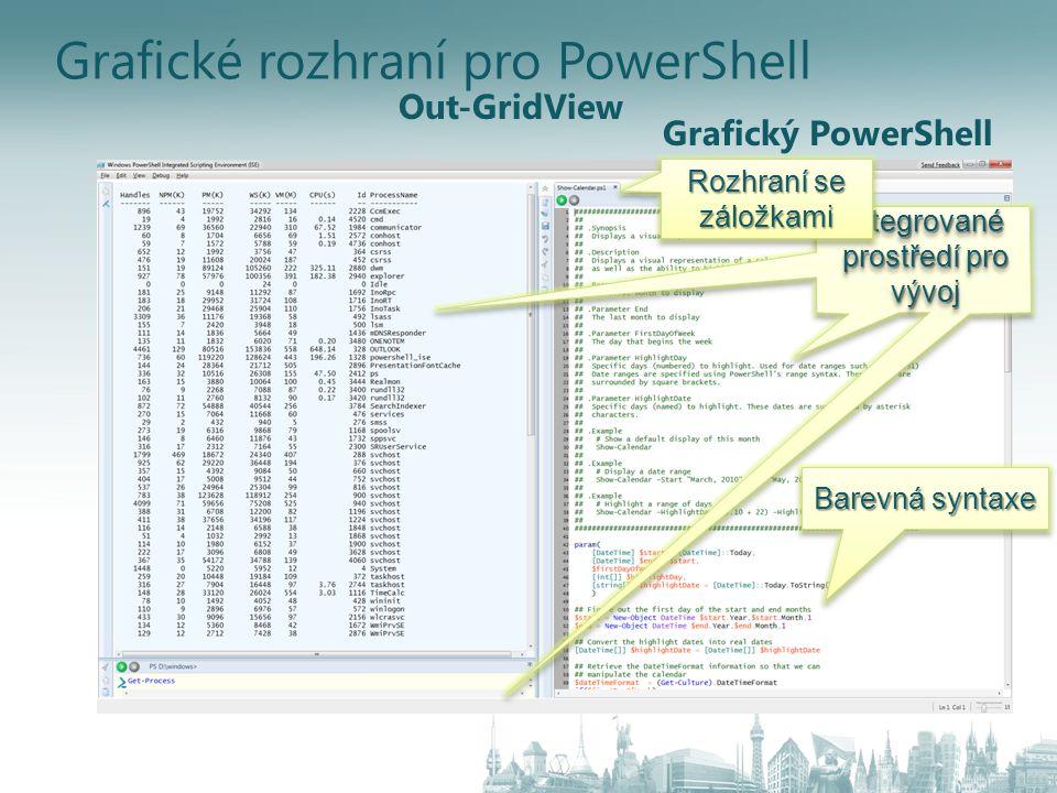Grafické rozhraní pro PowerShell Grafický PowerShell Out-GridView Integrované prostředí pro vývoj Rozhraní se záložkami Barevná syntaxe