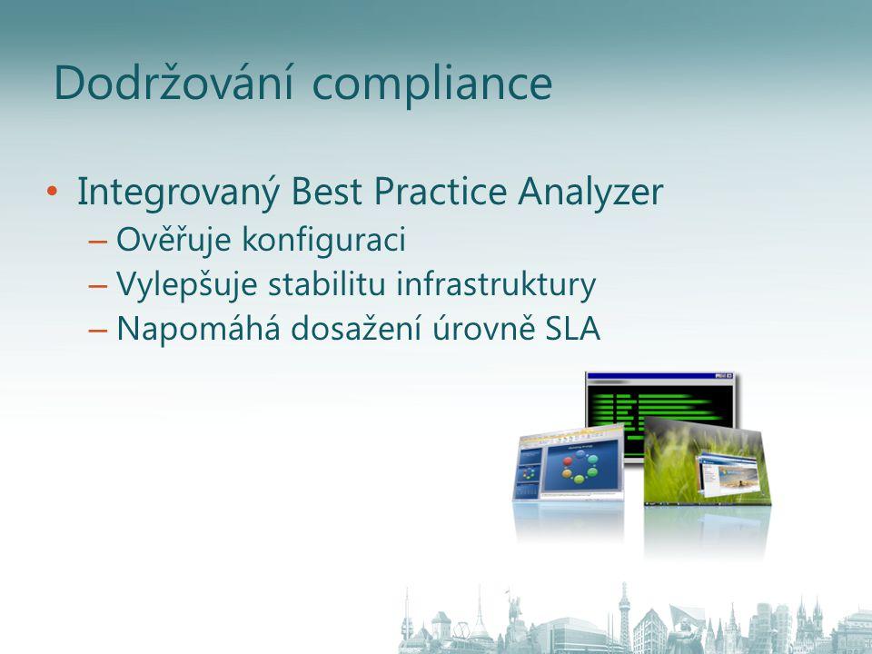 Dodržování compliance Integrovaný Best Practice Analyzer – Ověřuje konfiguraci – Vylepšuje stabilitu infrastruktury – Napomáhá dosažení úrovně SLA