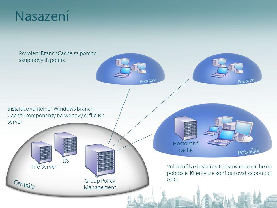 """Nasazení IIS File Server Group Policy Management Instalace volitelné """"Windows Branch Cache"""" komponenty na webový či file R2 server Povolení BranchCach"""