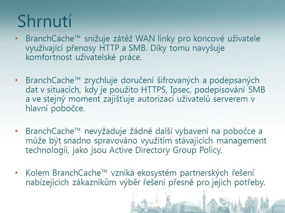Shrnutí BranchCache™ snižuje zátěž WAN linky pro koncové uživatele využívající přenosy HTTP a SMB. Díky tomu navyšuje komfortnost uživatelské práce. B