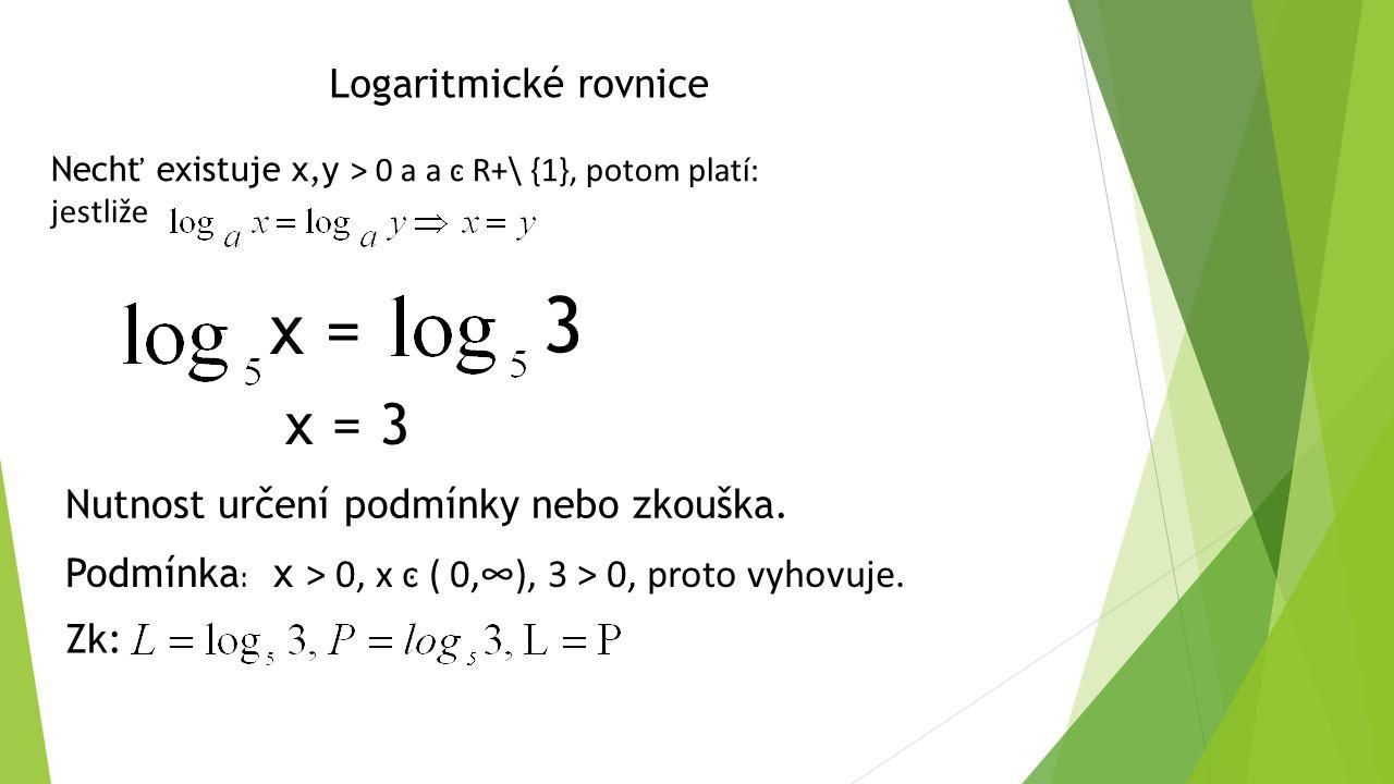 Použití vět o logaritmech v logaritmických rovnicích