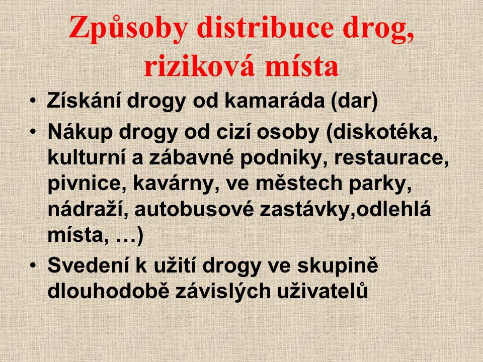 Způsoby distribuce drog, riziková místa Získání drogy od kamaráda (dar) Nákup drogy od cizí osoby (diskotéka, kulturní a zábavné podniky, restaurace,