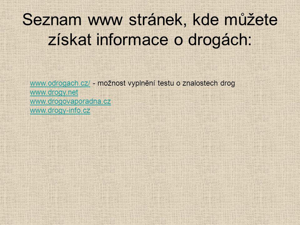 Seznam www stránek, kde můžete získat informace o drogách: www.odrogach.cz/www.odrogach.cz/ - možnost vyplnění testu o znalostech drog www.drogy.net w
