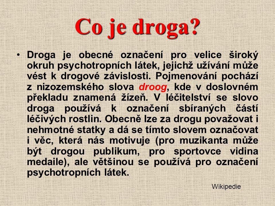 Účinky drog Dle typu drogy (obsahu účinné látky): - od mírné euforie až po halucinace( nejčastěji zrakové) tělesná i duševní stimulace, zvýšení bdělosti, snížení či odstranění únavy a chuti k jídlu celkový duševní a tělesný útlum, zklidnění, uvolnění, snížení či odstranění bolesti psychický útlum, obluzenost, spavost, poruchy vnímání - zejména halucinace ( = vnímání neexistujících podnětů, objektů) – ne vždy mají příjemný obsah, někdy jsou naopak děsivé, změněné prožívání reality, včetně vlastní osoby, změny nálady.