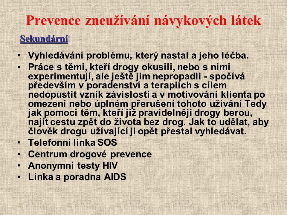 Prevence zneužívání návykových látek Vyhledávání problému, který nastal a jeho léčba. Práce s těmi, kteří drogy okusili, nebo s nimi experimentují, al
