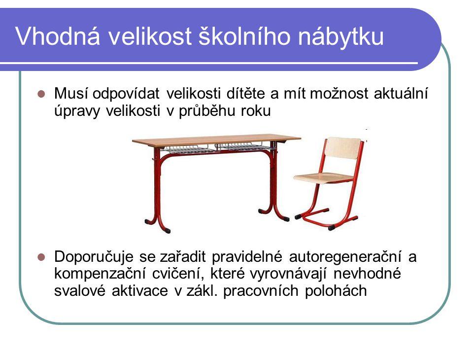 Vhodná velikost školního nábytku Musí odpovídat velikosti dítěte a mít možnost aktuální úpravy velikosti v průběhu roku Doporučuje se zařadit pravidel