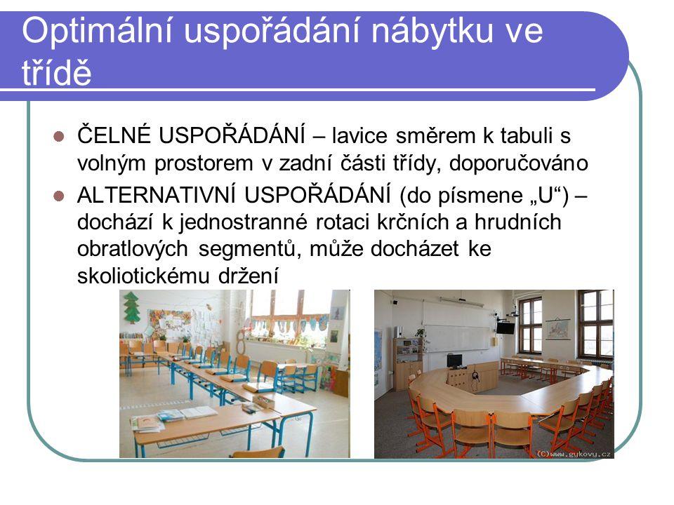 Optimální uspořádání nábytku ve třídě ČELNÉ USPOŘÁDÁNÍ – lavice směrem k tabuli s volným prostorem v zadní části třídy, doporučováno ALTERNATIVNÍ USPO