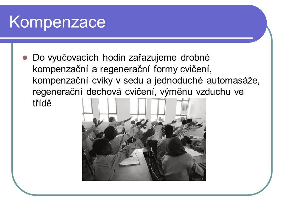 Kompenzace Do vyučovacích hodin zařazujeme drobné kompenzační a regenerační formy cvičení, kompenzační cviky v sedu a jednoduché automasáže, regenerač