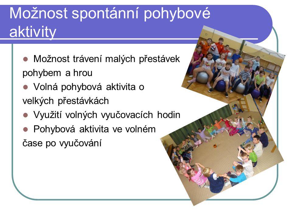 Možnost spontánní pohybové aktivity Možnost trávení malých přestávek pohybem a hrou Volná pohybová aktivita o velkých přestávkách Využití volných vyuč