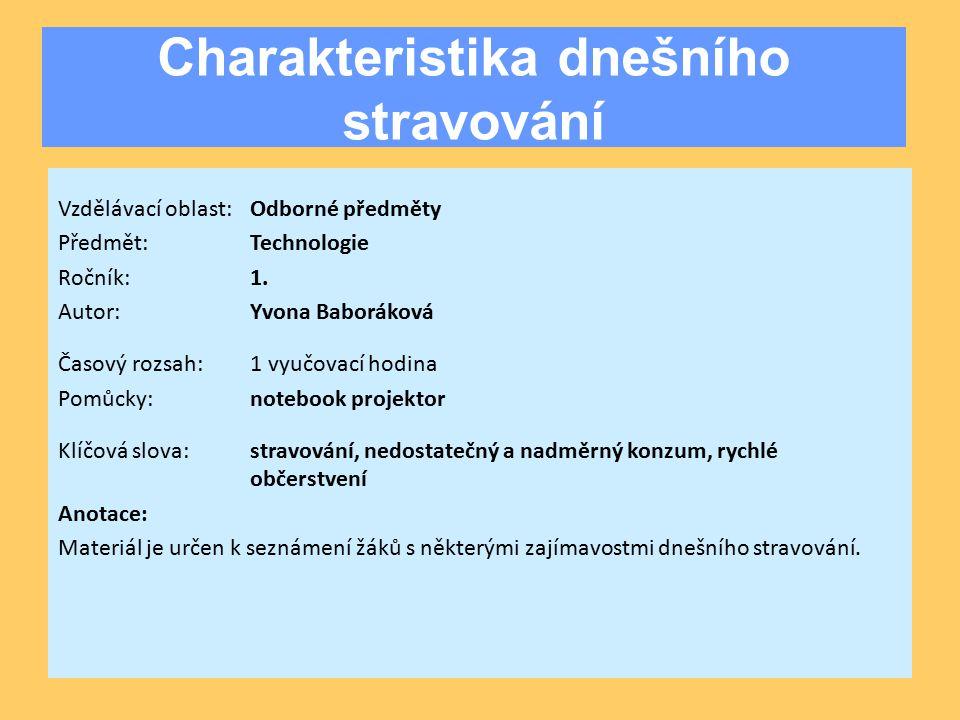 Charakteristika dnešního stravování Vzdělávací oblast:Odborné předměty Předmět:Technologie Ročník:1.