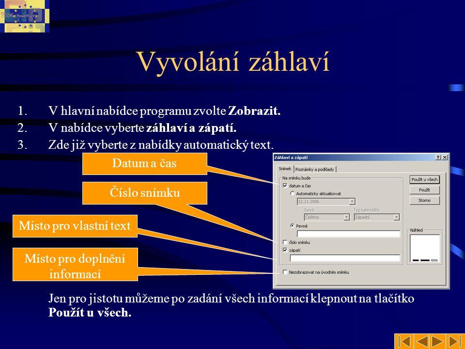 Zápatí snímku Oproti MS Word je program MS PowerPoint vybaven jen možností Zápatí.