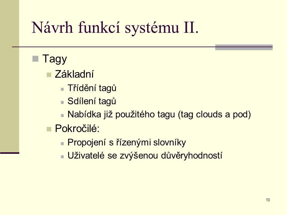 10 Návrh funkcí systému II.