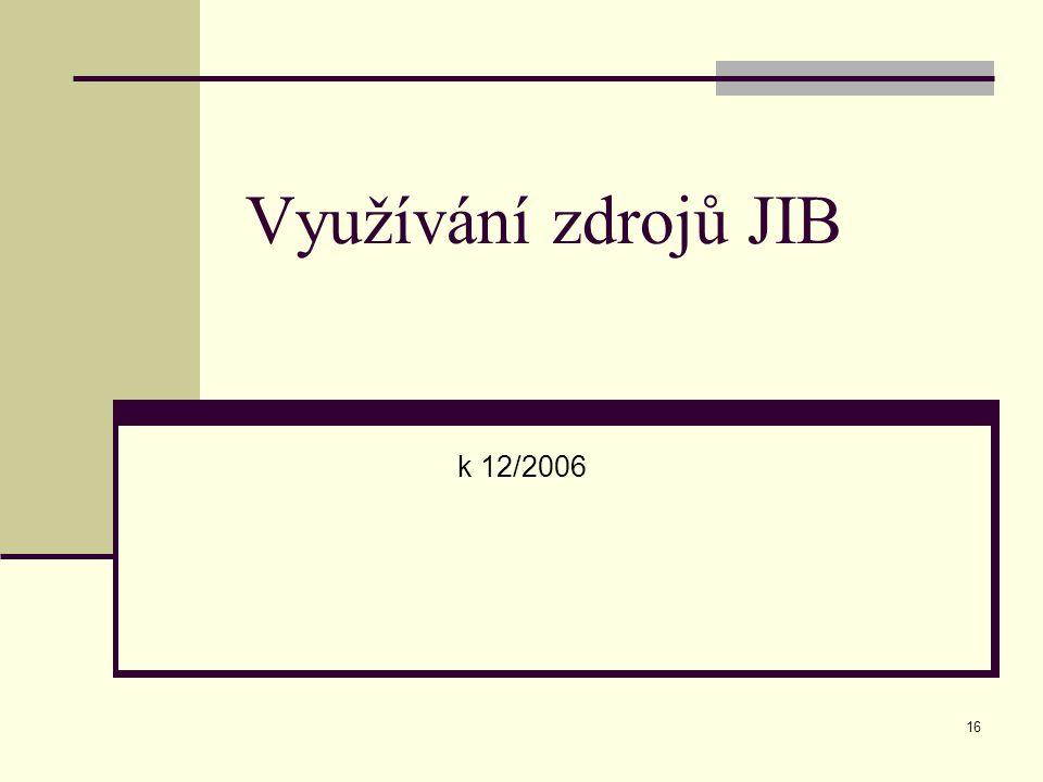 16 Využívání zdrojů JIB k 12/2006