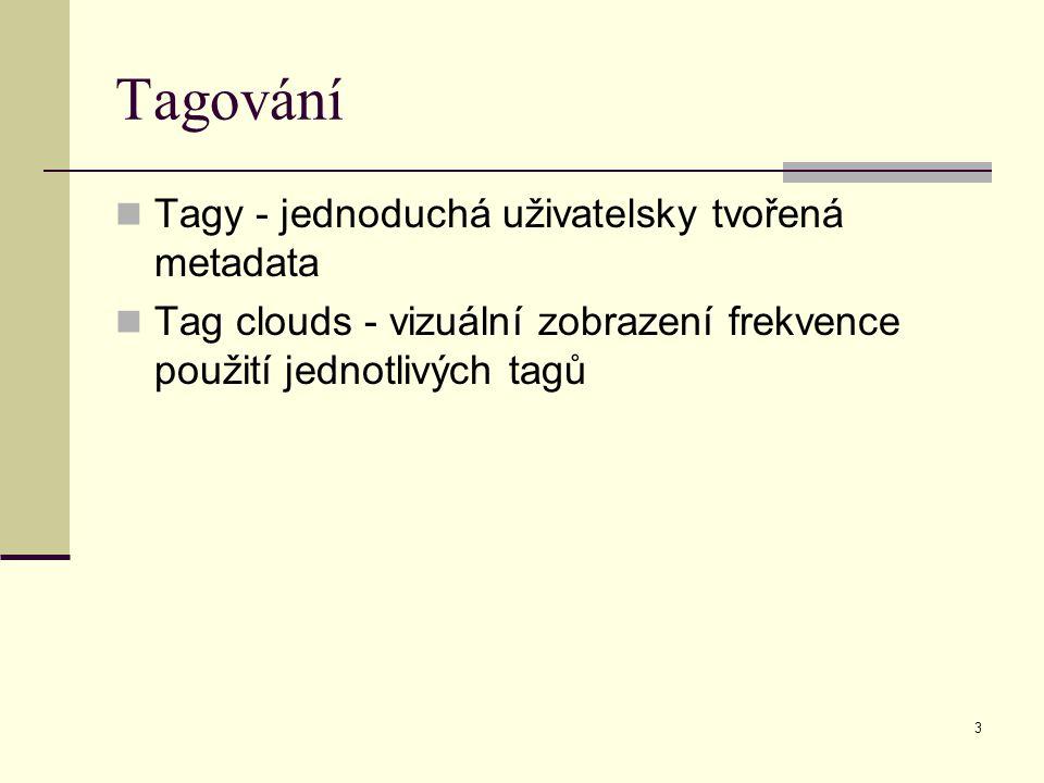 3 Tagování Tagy - jednoduchá uživatelsky tvořená metadata Tag clouds - vizuální zobrazení frekvence použití jednotlivých tagů