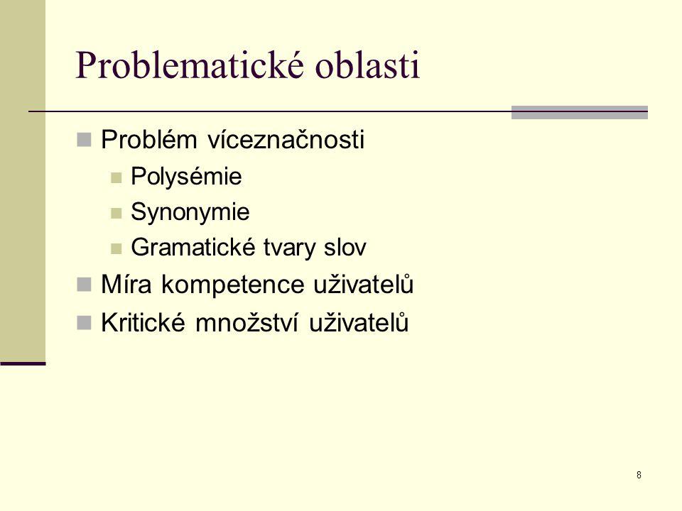 8 Problematické oblasti Problém víceznačnosti Polysémie Synonymie Gramatické tvary slov Míra kompetence uživatelů Kritické množství uživatelů