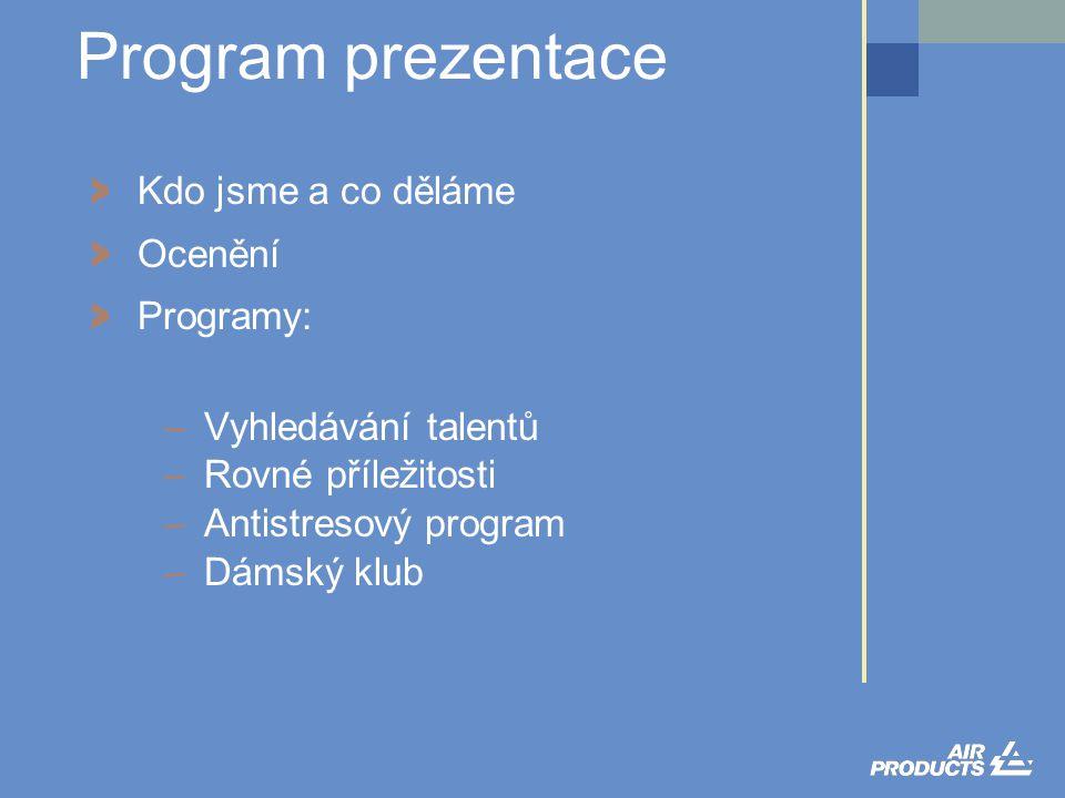 > Kdo jsme a co děláme > Ocenění > Programy: –Vyhledávání talentů –Rovné příležitosti –Antistresový program –Dámský klub Program prezentace