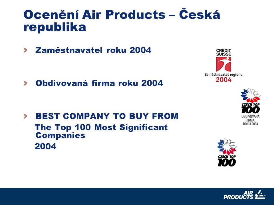 7 > Zaměstnavatel roku 2004 > Obdivovaná firma roku 2004 > BEST COMPANY TO BUY FROM The Top 100 Most Significant Companies 2004 Ocenění Air Products –