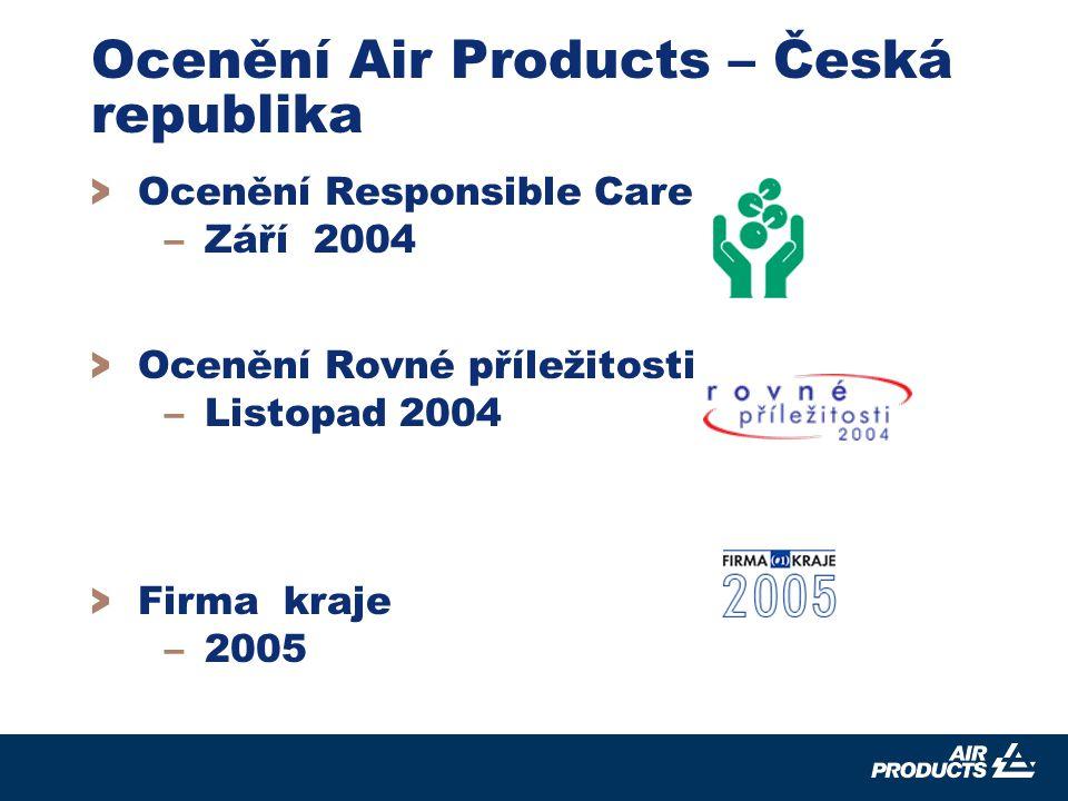8 > Ocenění Responsible Care –Září 2004 > Ocenění Rovné příležitosti –Listopad 2004 > Firma kraje –2005