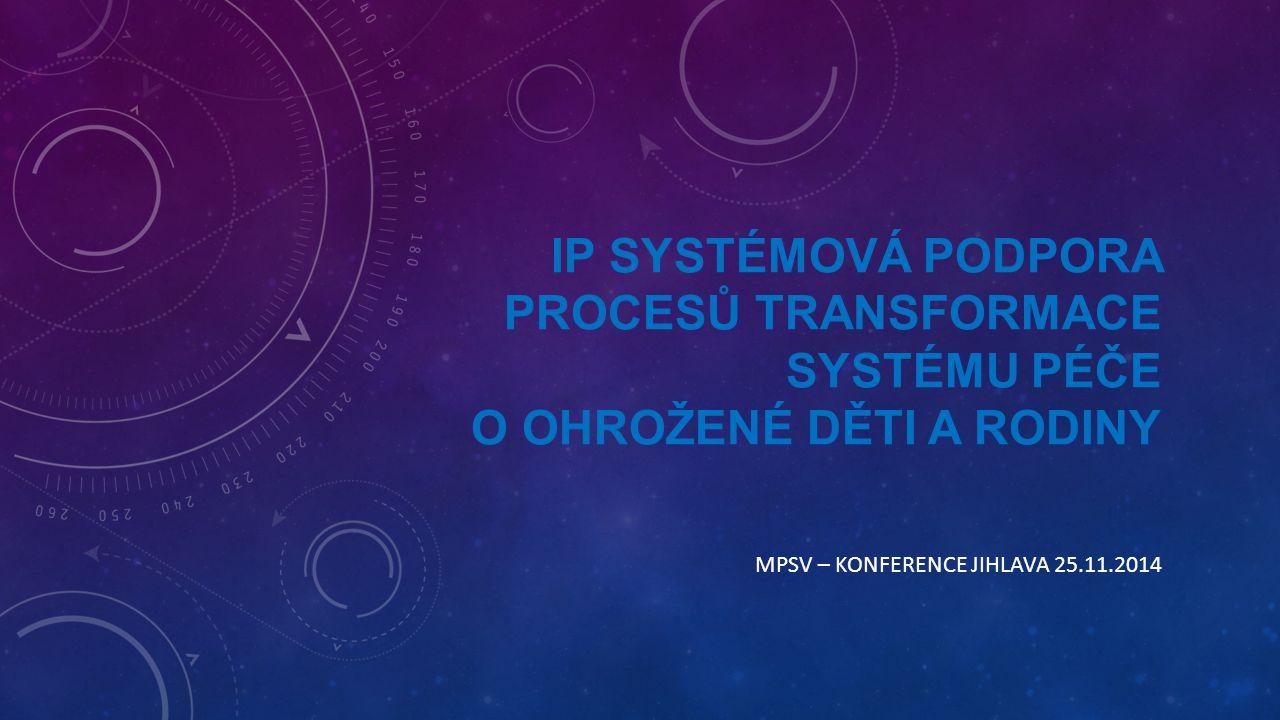 IP SYSTÉMOVÁ PODPORA PROCESŮ TRANSFORMACE SYSTÉMU PÉČE O OHROŽENÉ DĚTI A RODINY MPSV – KONFERENCE JIHLAVA 25.11.2014