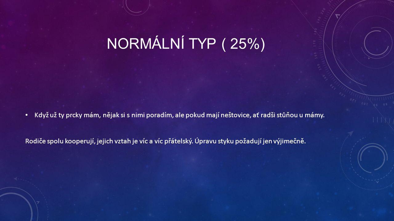 NORMÁLNÍ TYP ( 25%) Když už ty prcky mám, nějak si s nimi poradím, ale pokud mají neštovice, ať radši stůňou u mámy. Rodiče spolu kooperují, jejich vz