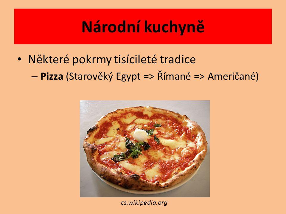 Nejznámější národní kuchyně Francouzská Italská Japonská Řecká Americká Ruská Mexická Čínská Africká Arabská Indická Středoevropská