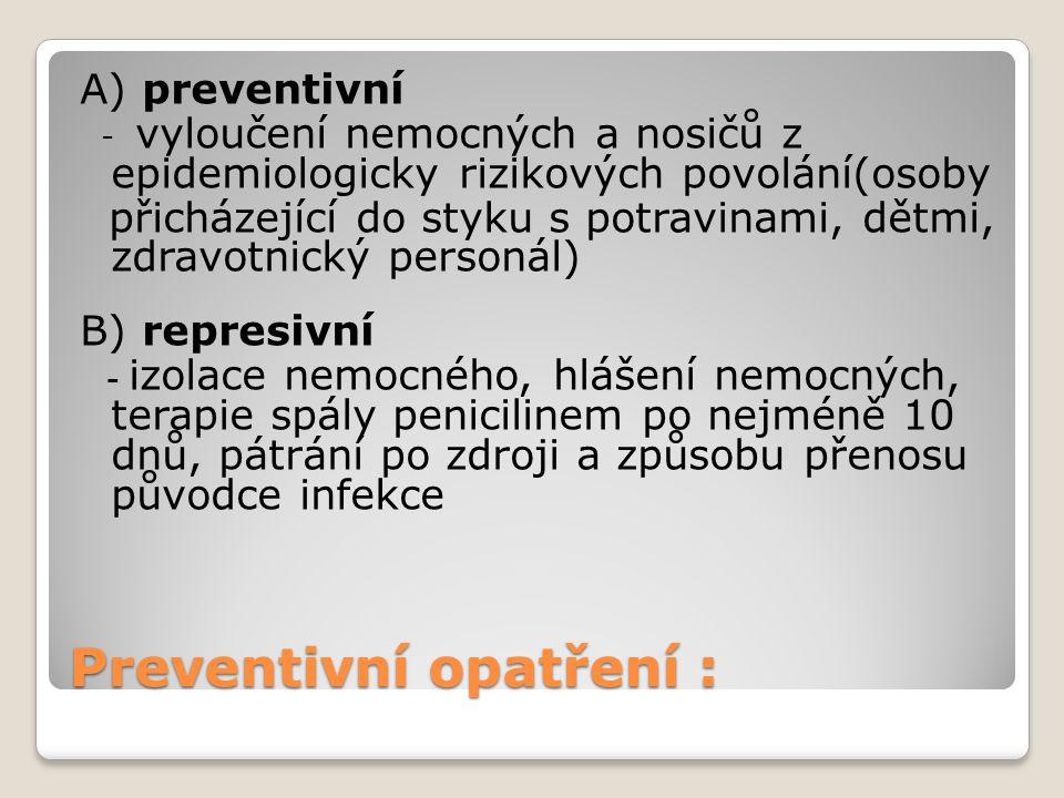 Preventivní opatření : A) preventivní - vyloučení nemocných a nosičů z epidemiologicky rizikových povolání(osoby přicházející do styku s potravinami,