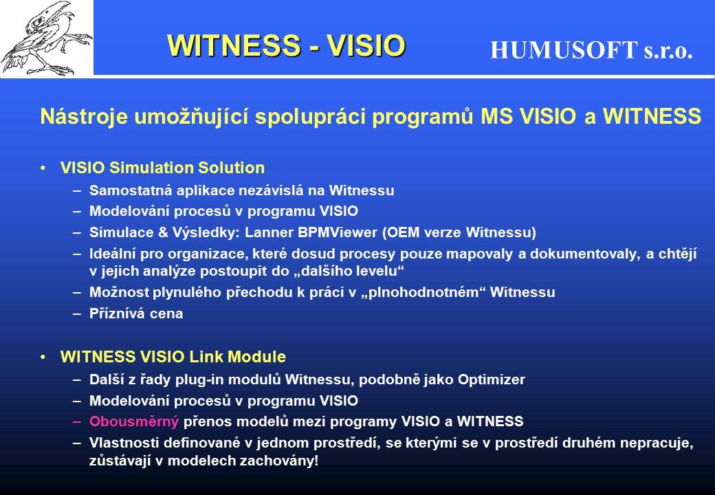 HUMUSOFT s.r.o. WITNESS - VISIO Nástroje umožňující spolupráci programů MS VISIO a WITNESS VISIO Simulation Solution –Samostatná aplikace nezávislá na