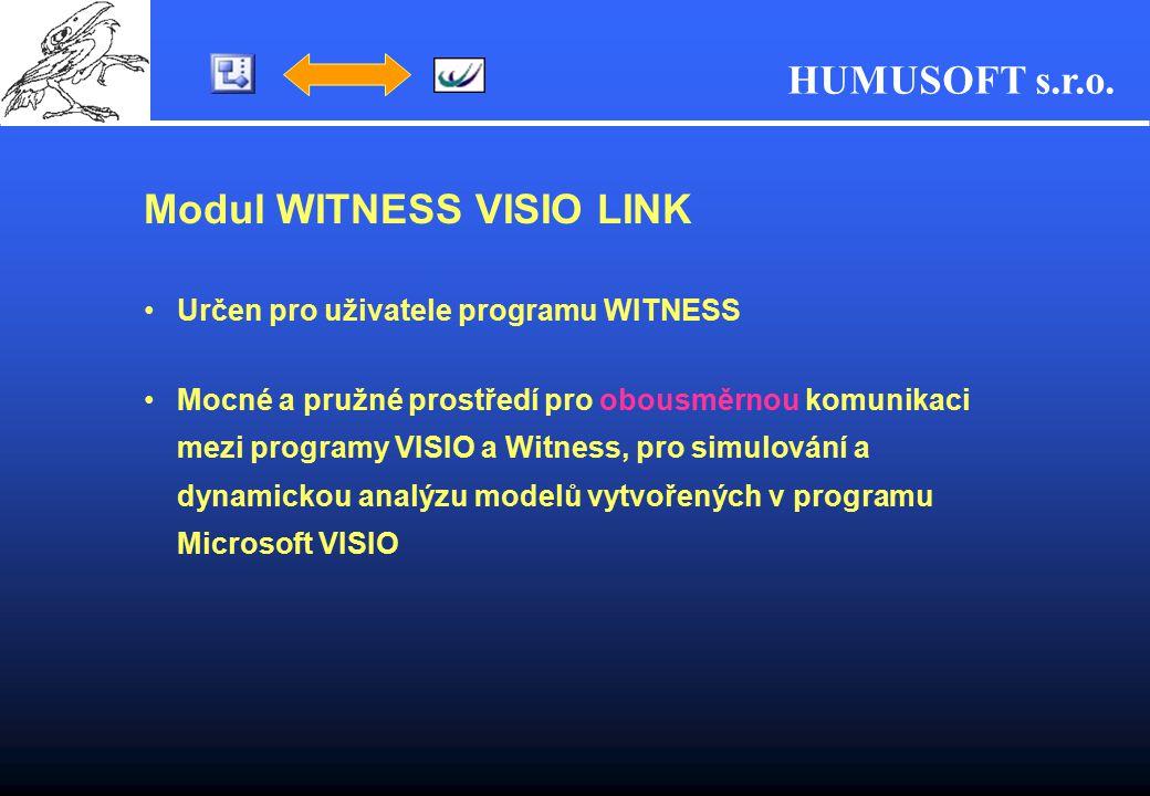 HUMUSOFT s.r.o. Modul WITNESS VISIO LINK Určen pro uživatele programu WITNESS Mocné a pružné prostředí pro obousměrnou komunikaci mezi programy VISIO
