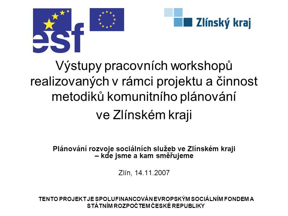 Obsah prezentace Zapojení metodiků KPSS v projektu Výsledky workshopů v obcích Návrh tvorby Střednědobého plánu rozvoje sociálních služeb ve Zlínském kraji (SPRSS) Práce metodiků