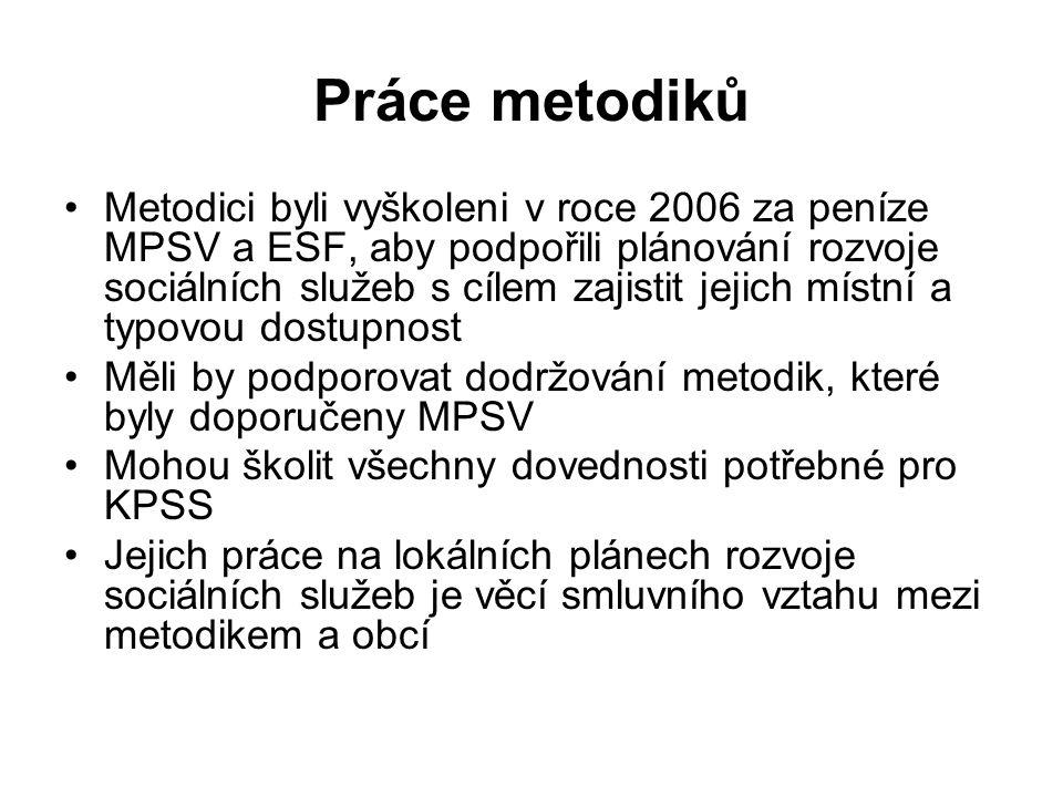Práce metodiků Metodici byli vyškoleni v roce 2006 za peníze MPSV a ESF, aby podpořili plánování rozvoje sociálních služeb s cílem zajistit jejich mís