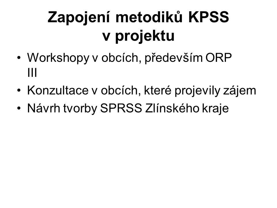 Výsledky workshopů v obcích 10 měst ORP III realizuje KPSS 5 obcí má zpracovaný komunitní plán 3 obce mají plán schválený zastupitelstvy