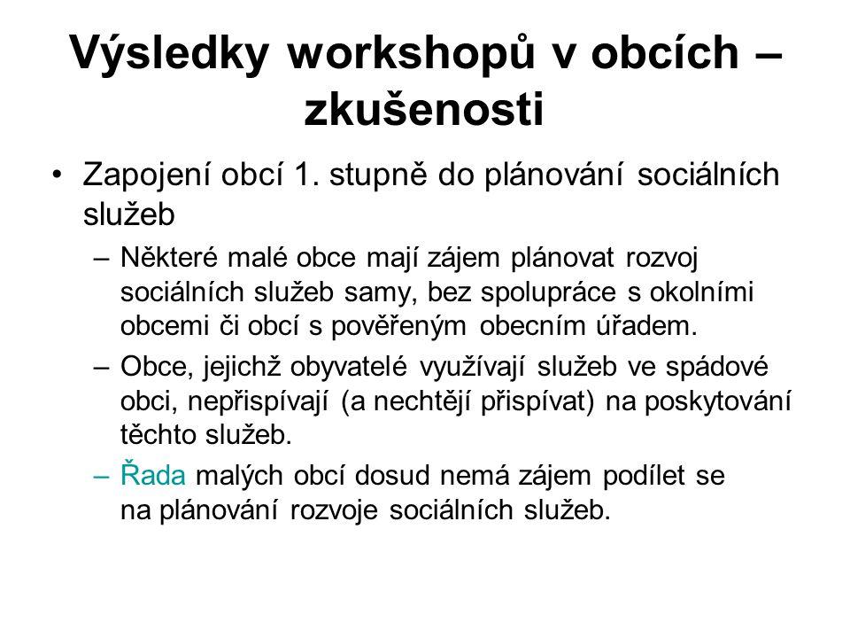 Výsledky workshopů v obcích – zkušenosti Zapojení obcí 1.