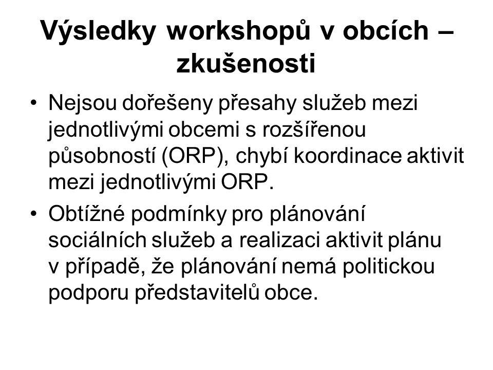 Výsledky workshopů v obcích – zkušenosti Nejsou dořešeny přesahy služeb mezi jednotlivými obcemi s rozšířenou působností (ORP), chybí koordinace aktivit mezi jednotlivými ORP.
