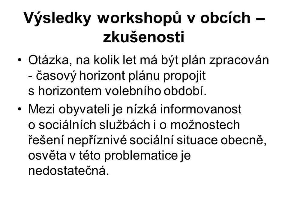 Výsledky workshopů v obcích – zkušenosti Otázka, na kolik let má být plán zpracován - časový horizont plánu propojit s horizontem volebního období. Me