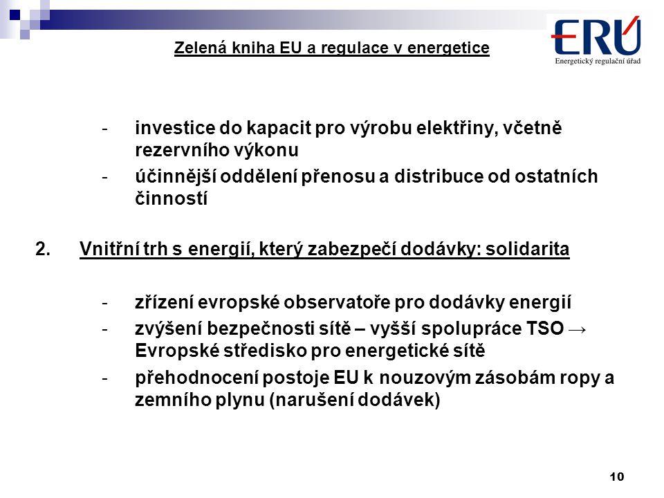 10 Zelená kniha EU a regulace v energetice -investice do kapacit pro výrobu elektřiny, včetně rezervního výkonu -účinnější oddělení přenosu a distribu