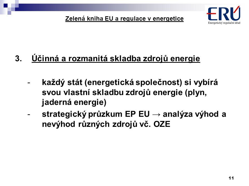 11 Zelená kniha EU a regulace v energetice 3.Účinná a rozmanitá skladba zdrojů energie -každý stát (energetická společnost) si vybírá svou vlastní skl