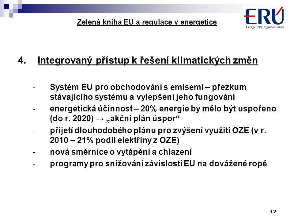 12 Zelená kniha EU a regulace v energetice 4.Integrovaný přístup k řešení klimatických změn -Systém EU pro obchodování s emisemi – přezkum stávajícího