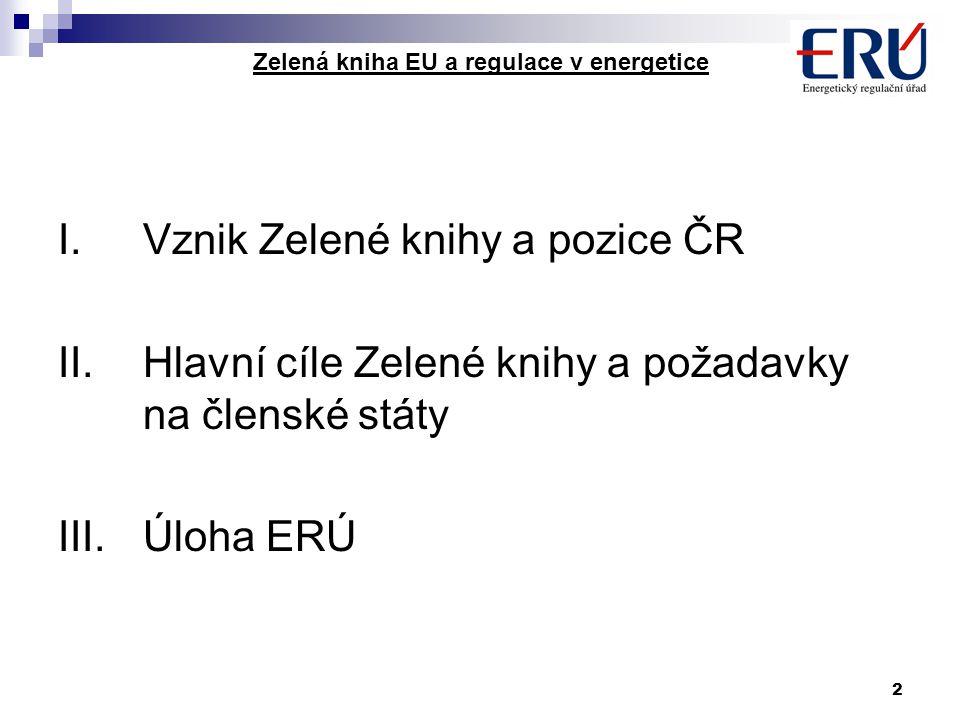2 Zelená kniha EU a regulace v energetice I.Vznik Zelené knihy a pozice ČR II.Hlavní cíle Zelené knihy a požadavky na členské státy III.Úloha ERÚ