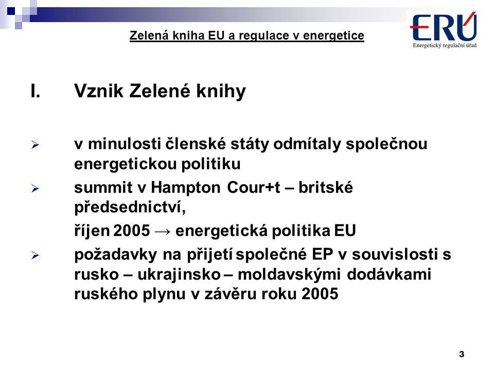 3 Zelená kniha EU a regulace v energetice I.Vznik Zelené knihy  v minulosti členské státy odmítaly společnou energetickou politiku  summit v Hampton