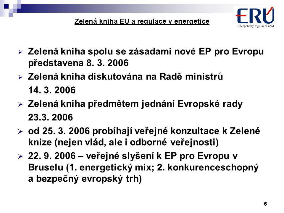 6 Zelená kniha EU a regulace v energetice  Zelená kniha spolu se zásadami nové EP pro Evropu představena 8. 3. 2006  Zelená kniha diskutována na Rad