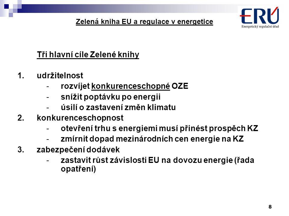 8 Zelená kniha EU a regulace v energetice Tři hlavní cíle Zelené knihy 1.udržitelnost -rozvíjet konkurenceschopné OZE -snížit poptávku po energii -úsi
