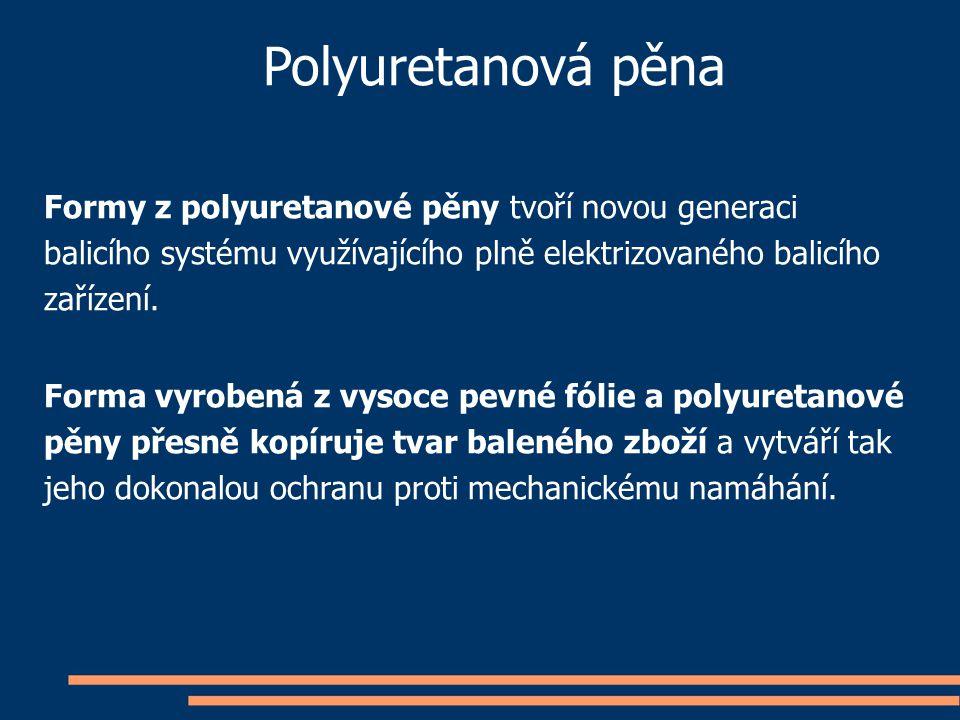 Polyuretanová pěna Formy z polyuretanové pěny tvoří novou generaci balicího systému využívajícího plně elektrizovaného balicího zařízení. Forma vyrobe