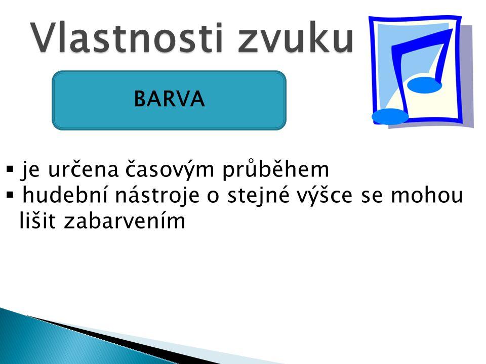 Vlastnosti zvuku BARVA  je určena časovým průběhem  hudební nástroje o stejné výšce se mohou lišit zabarvením
