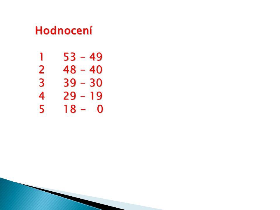 Hodnocení 1 53 – 49 1 53 – 49 248 – 40 248 – 40 339 – 30 339 – 30 4 29 – 19 4 29 – 19 518 - 0 518 - 0