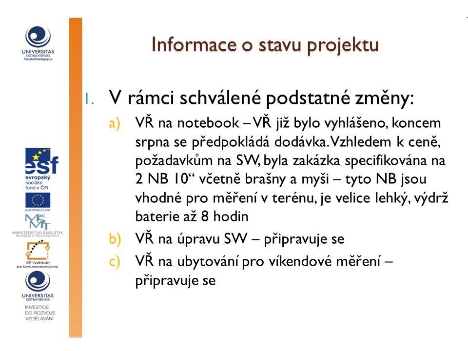 Informace o stavu projektu 1. V rámci schválené podstatné změny: a)VŘ na notebook – VŘ již bylo vyhlášeno, koncem srpna se předpokládá dodávka. Vzhled