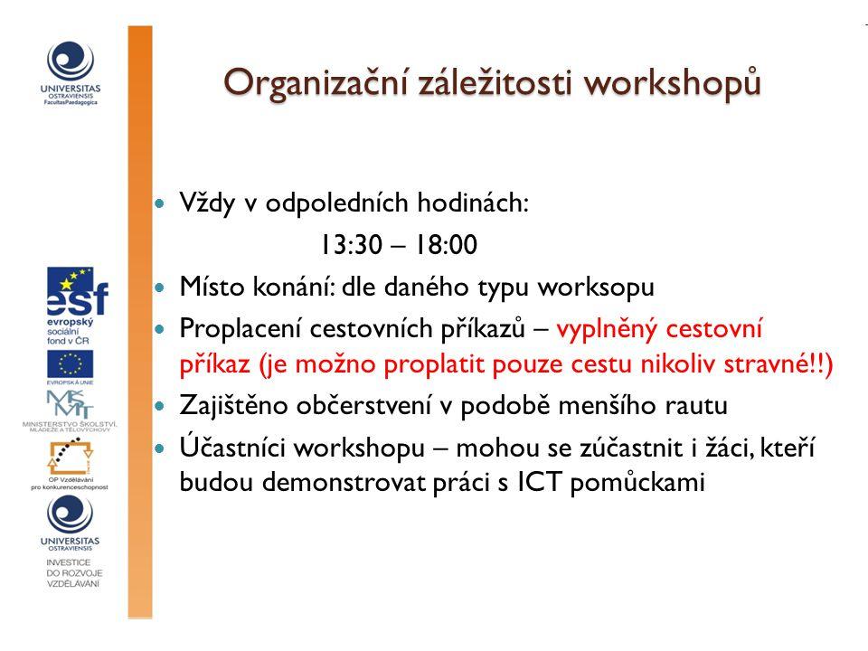 Definice pojmu workshop Workshop je forma vzdělávací aktivity, při které lektor připraví program tak, aby prostřednictvím různých technik účastníci pomocí vlastních zkušeností a znalostí došli k výstupu, který je pro ně užitečný a využitelný v jejich další práci, praxi.