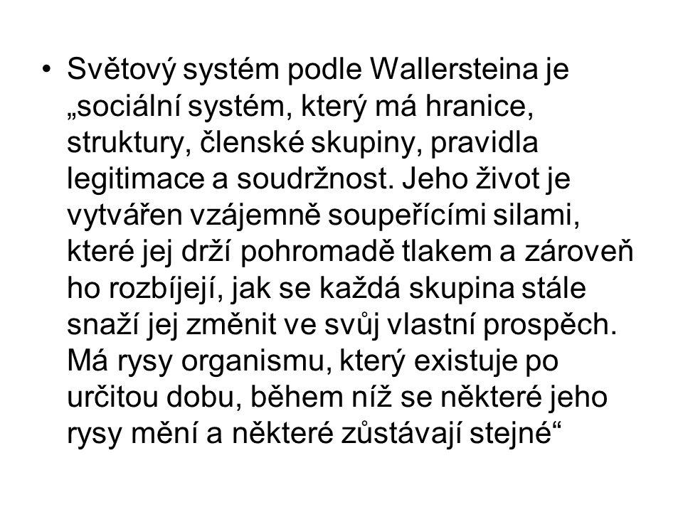 """Světový systém podle Wallersteina je """"sociální systém, který má hranice, struktury, členské skupiny, pravidla legitimace a soudržnost. Jeho život je v"""