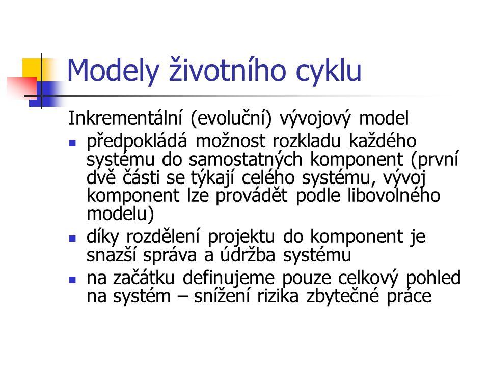 Modely životního cyklu Inkrementální (evoluční) vývojový model předpokládá možnost rozkladu každého systému do samostatných komponent (první dvě části