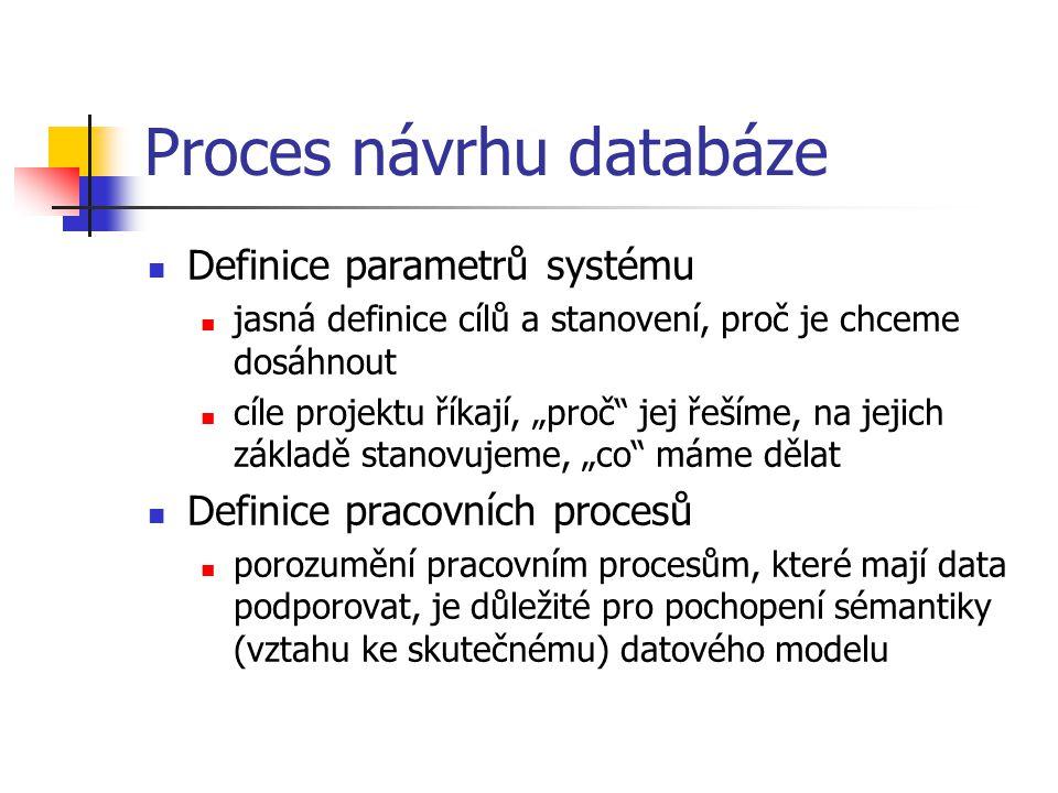"""Proces návrhu databáze Definice parametrů systému jasná definice cílů a stanovení, proč je chceme dosáhnout cíle projektu říkají, """"proč"""" jej řešíme, n"""